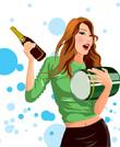 美女插画-拿酒的女孩