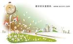 韩国矢量手绘风景插画