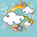 彩虹、云朵潮流插