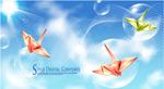 纸鹤与梦幻背景