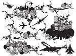 城市与花纹组合