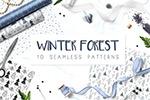 冬季森林手绘元素