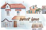 水彩手绘冬季房子
