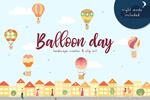 手绘气球日插画