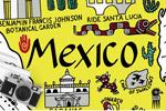 墨西哥地图插画