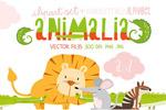 动物英文字母插画