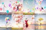 美女与气球PSD