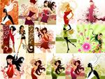 时尚女性与花纹