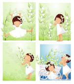 女孩-白色花朵主
