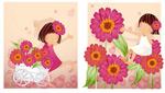 女孩-紫红色雏菊