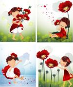 女孩-红色花朵主