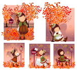 女孩-秋天的落叶