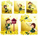 女孩-黄色的落叶