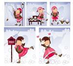 女孩-雪人主题