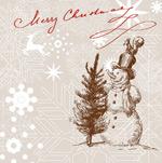 圣诞节线描贺卡