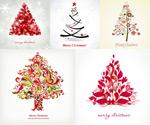 缤纷圣诞树矢量