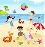 卡通小孩夏日海滩