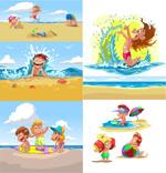 卡通儿童夏季沙滩