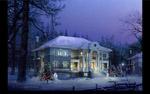 圣诞节房子雪景