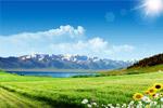 白云下的高山湖泊