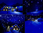 手绘圣诞节乡村