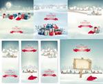 圣诞节物盒与雪景