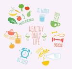 健康生活插画