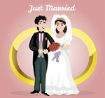 戒指和新娘新郎