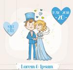 卡通新郎与新娘