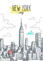 手绘纽约城市
