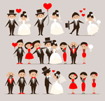 卡通新娘与新郎