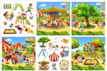 卡通儿童与游乐园