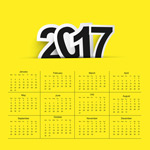2017黄色背景日历