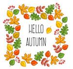 秋季树叶边框插画