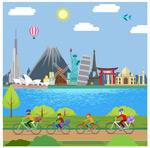城市风景骑行人物