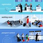 机场程序插画矢量