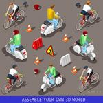 骑车的3D人物