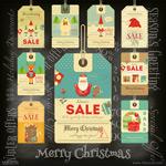 复古圣诞促销标签