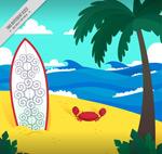 创意沙滩插画