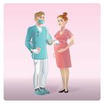 卡通医生和孕妇