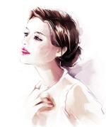 水彩手绘时尚美女