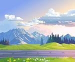 公路草地山脉