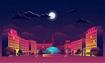 夜空下的城市建筑