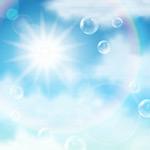 阳光和漂浮的气泡