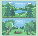 森林与湖泊风景