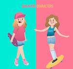 玩滑板的女孩