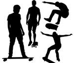 玩滑板的男子剪影