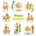 家庭人物复活节