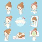 女孩美容护肤矢量