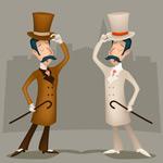 扶着礼帽的绅士